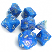 Blue & Silver Mother of Pearl Polyhedral 7 Dice Set
